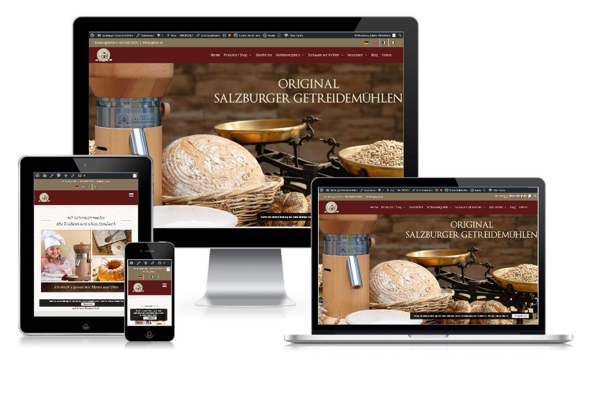 Projekt Salzburger Getreidemühlen Hallein Pixelstudio Webdesign